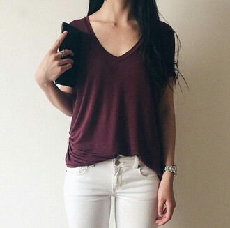 t-shirt shirt jeans watch ring fashion jewels burgundy v neck red wine