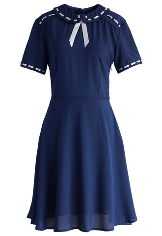 dress pretty ribbon trimmed dress in navy chicwish navy