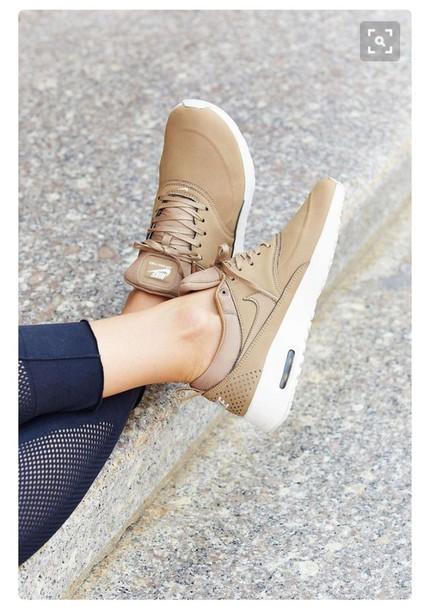 uk availability 48de5 d8afd shoes nike nike air max thea premium nike shoes trendy roshes brown gold  tan air max