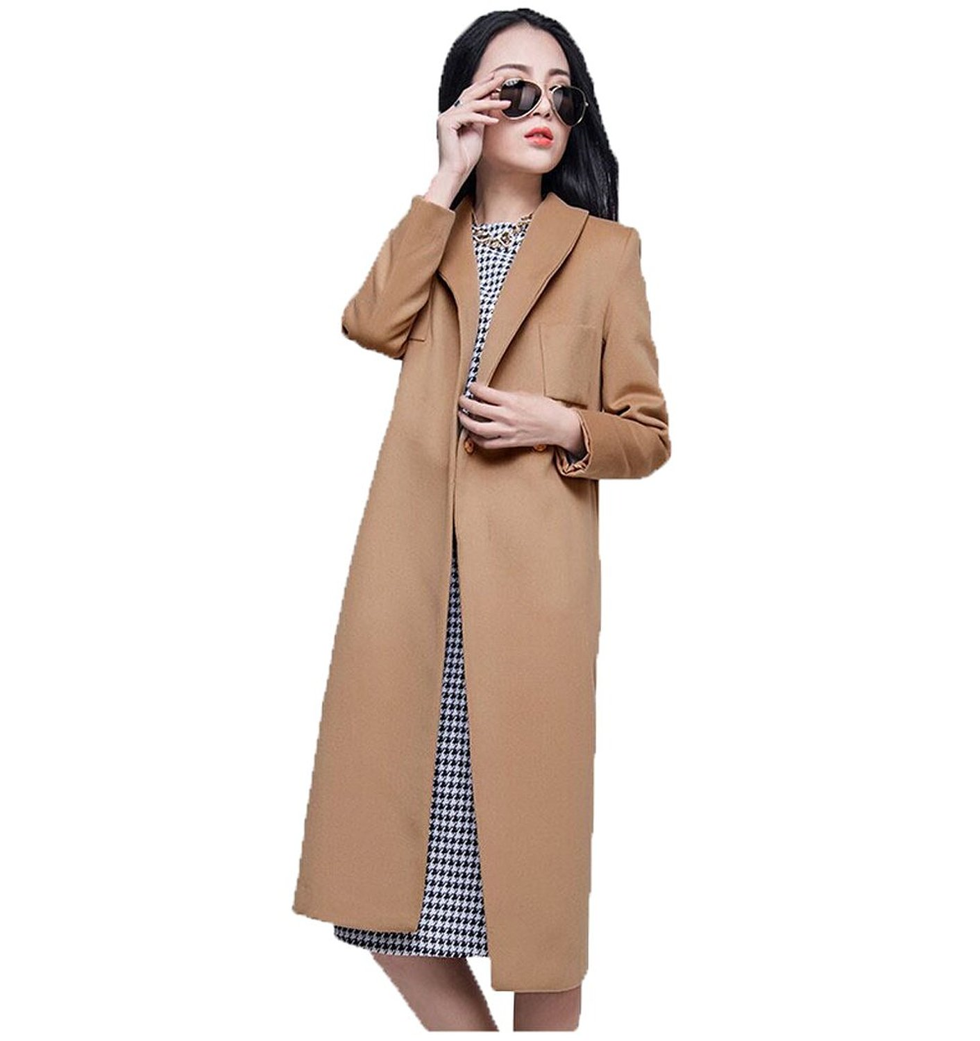 Bofeifs long pattern chic fit and flare long sleeve women's woolen coat at amazon women's coats shop
