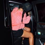 coat,fur coat,pink,tumblr girl,snapback,cap