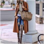 coat,tumblr,camel,camel coat,long coat,bag,beige bag,sweater,beige sweater,celine bag,celine,denim,jeans,blue jeans,ripped jeans,boots,over the knee boots,thigh high boots,winter outfits,winter coat,winter look,scarf,camel long coat