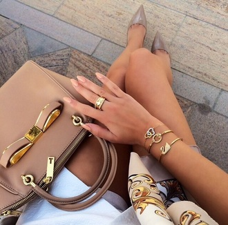 bag purse handbag gold nude bows