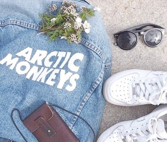 jacket jeans blue denim denim jacket vintage band t-shirt arctic monkeys grunge tumblr outfit tumblr outfit