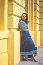 tanvii,blogger,dress,shoes,bag,jewels,blue dress,midi dress,mules,spring outfits
