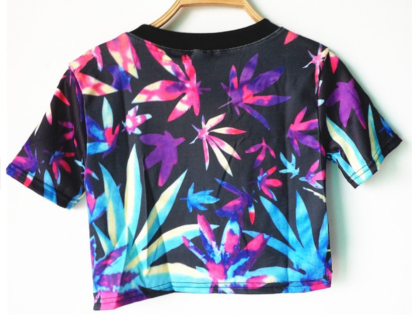 Cheap 2014 Harajuku fashion Vintage Neon Marijuana Maple leaf print crop tops young girl clothing short design Tee t shirt Wear-in T-Shirts from Apparel & Accessories on Aliexpress.com | Alibaba Group