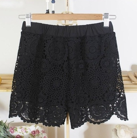Black lace mini crochet shorts *free shipping* · mir · online store powered by storenvy
