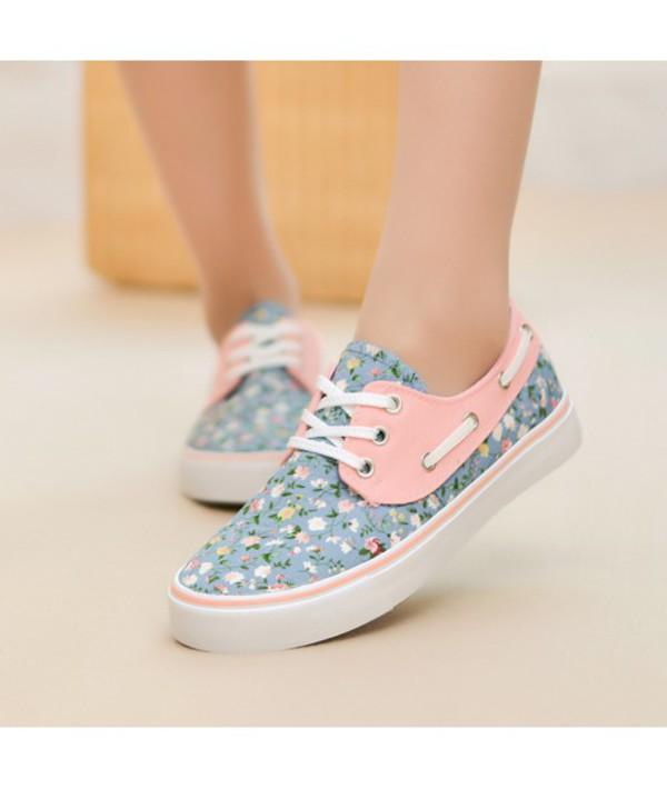 Online Shop Princess Floral Canvas Shoes Women Flats Shoes Casual ...