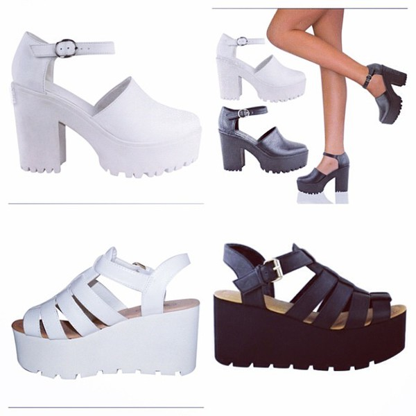 shoes white platforms buckles