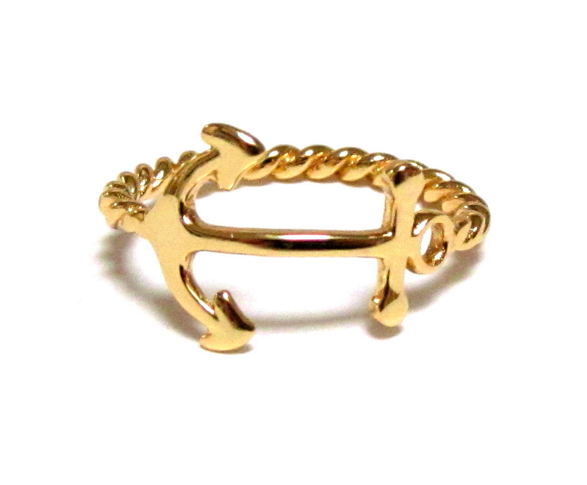 anchor ring 14 kt gold sterling silver anchor ring