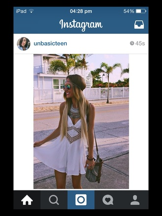 dress tumblr white white dress summer fashion style love pretty america beach necklace sunglasses blonde hair jewels www.ebonylace.net ebonylacefashion