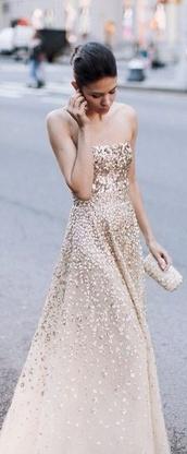 dress,gold glitter,glitter,glitter dress,long prom dress,prom dress,strapless,ombre,gown,runway,girl,white,gold,sequin prom dress,chiffon,formal,gold dress,formal dress,eveningwear,sequins