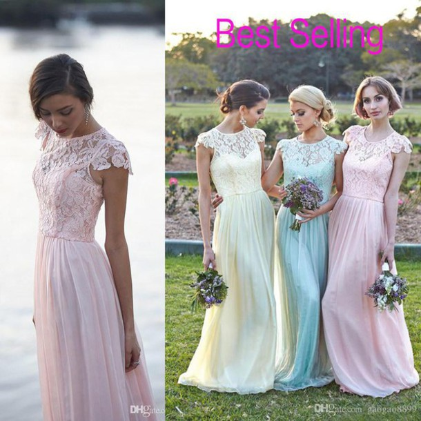 dress, lace chiffon bridesmaid dresses, long bridesmaid ...