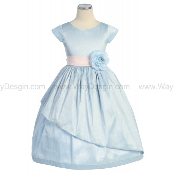 Light Blue Poly Dupioni Dress Sleeves