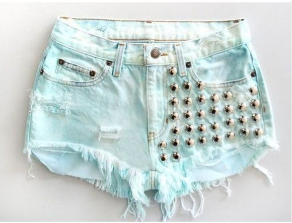 shorts denim studs distressed blue acid washed light blue ripped shorts