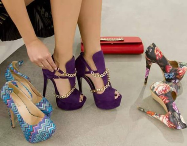 shoes heels purple