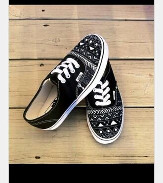 shoes black white tribal vans