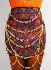 skirt,multi,chain
