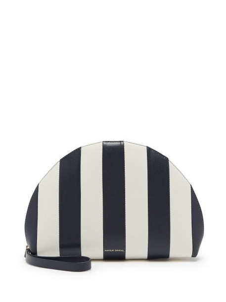 leather clutch mini moon clutch leather navy white bag