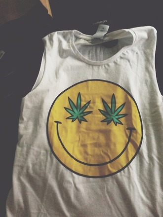 t-shirt weed smiley face