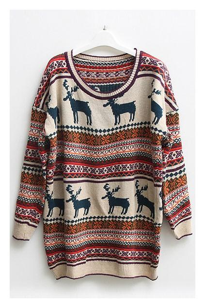 Multi Sweater - Nordic Stripes Print Oversized Sweater | UsTrendy
