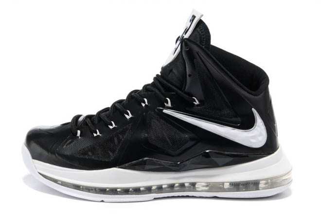 Brand New Nike LeBron 10 Air Max King James Basketball Shoes (Black & White) For Male