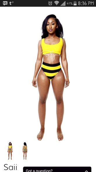 swimwear bumble bee yellow striped swimsuit two-piece high waisted bikini