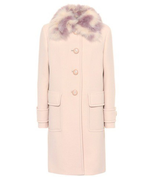 Miu Miu coat fur wool pink