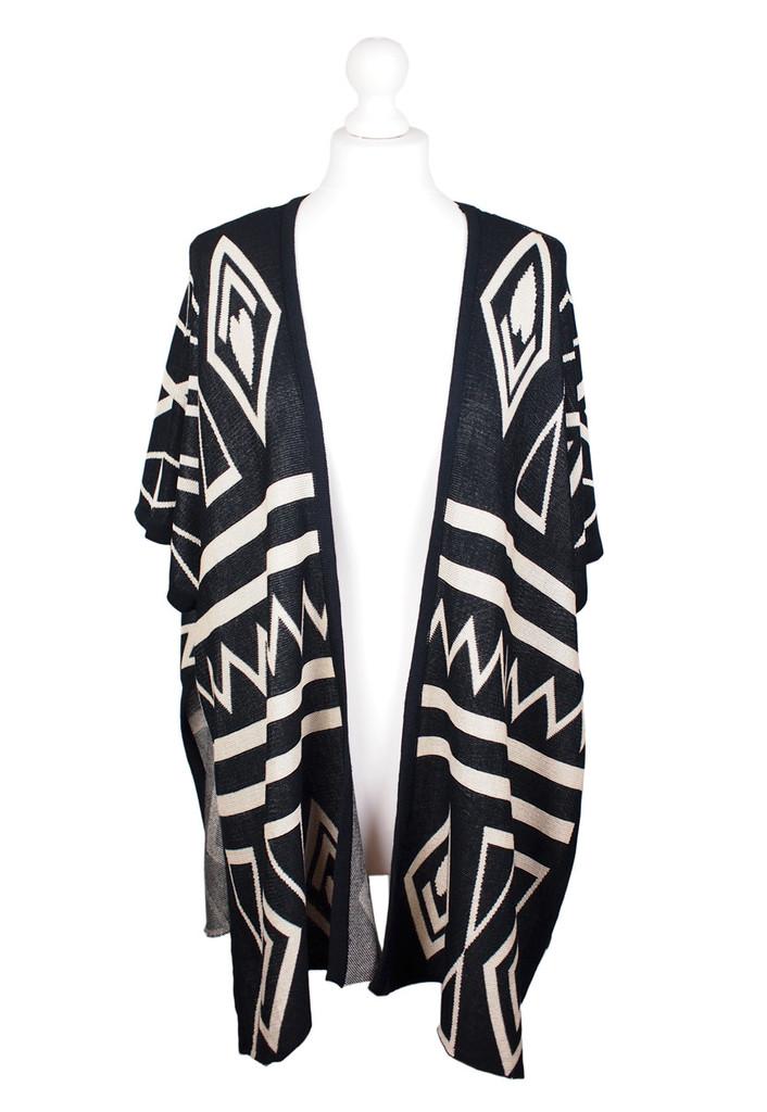 Aztec geo cape blanket cardigan