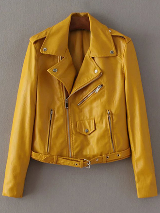 jacket yellow long sleeves fall outfits winter outfits faux leather trendy zaful