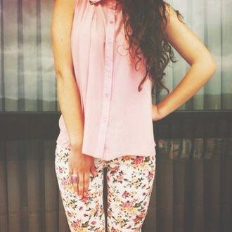 pants blouse top pink floral floral pants leggings girly