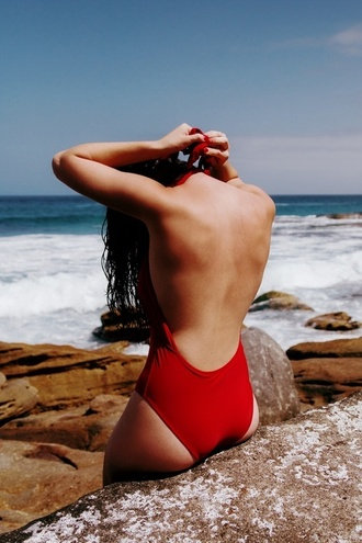 swimwear backless one piece swimsuit red swimwear red swimsuit one piece swimsuit red