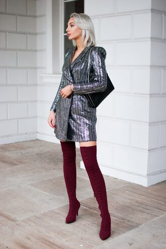 blogger jacket dress shoes bag blazer dress sequin dress thigh high boots boots red boots