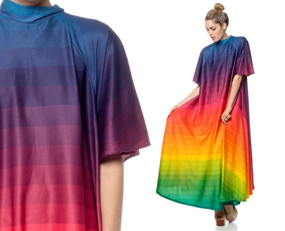 dip dyed rainbow rainbow dress vintage vintage dress festival festival dress