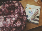 bag,purple,galaxy print,vans,backpack