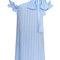 Blue striped sun kissed shoulder dress – deeply personal