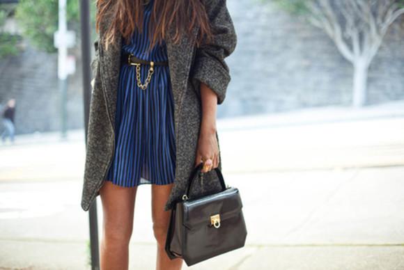wool boyfriend coat oversized dress coat blue dress Belt
