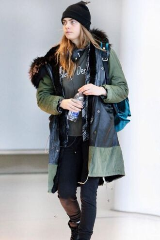 t-shirt cara delevingne jacket headphones