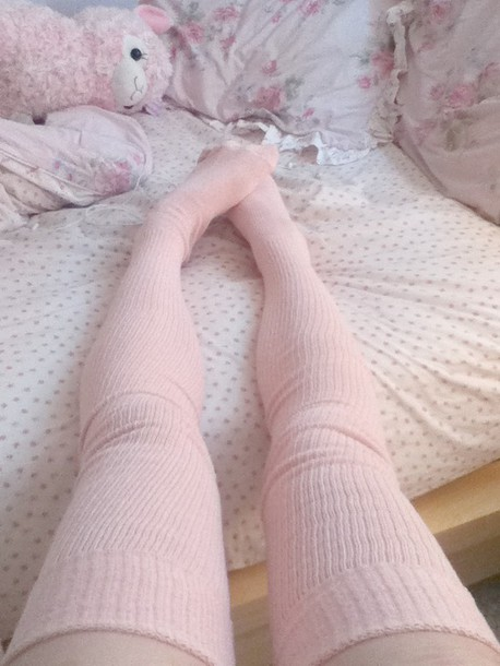 socks pink kawaii pastel thigh highs