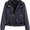 Black lapel zipper crop pu jacket -shein(sheinside)