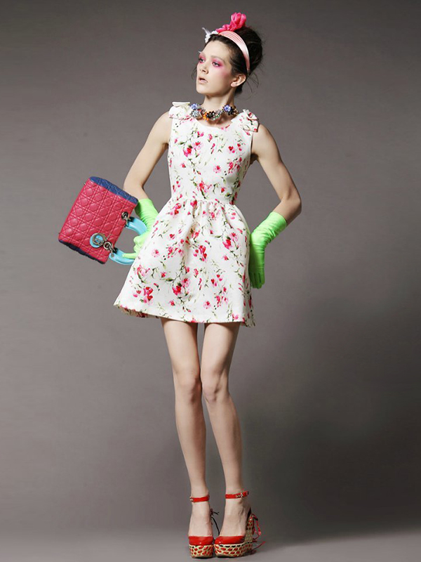 U Neck Sleeveless Princess Floral Fashion Dress : KissChic.com
