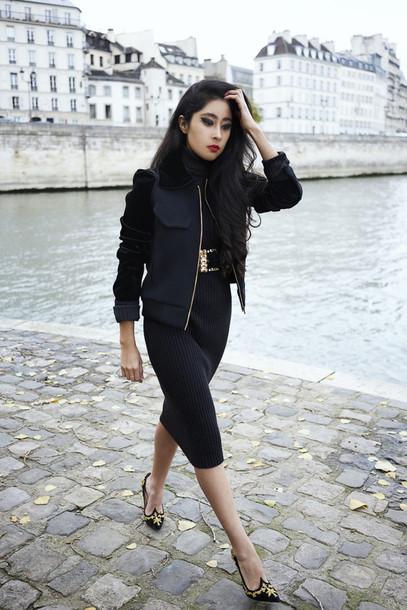 dress, tumblr, black dress, black midi