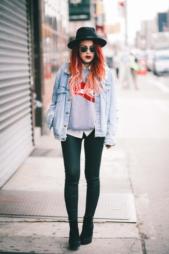 sweater sweatshirt le happy blogger pants spring outfits spring jacket denim jacket shoes sunglasses hat jacket