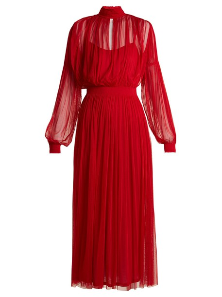 dress midi dress high midi silk red