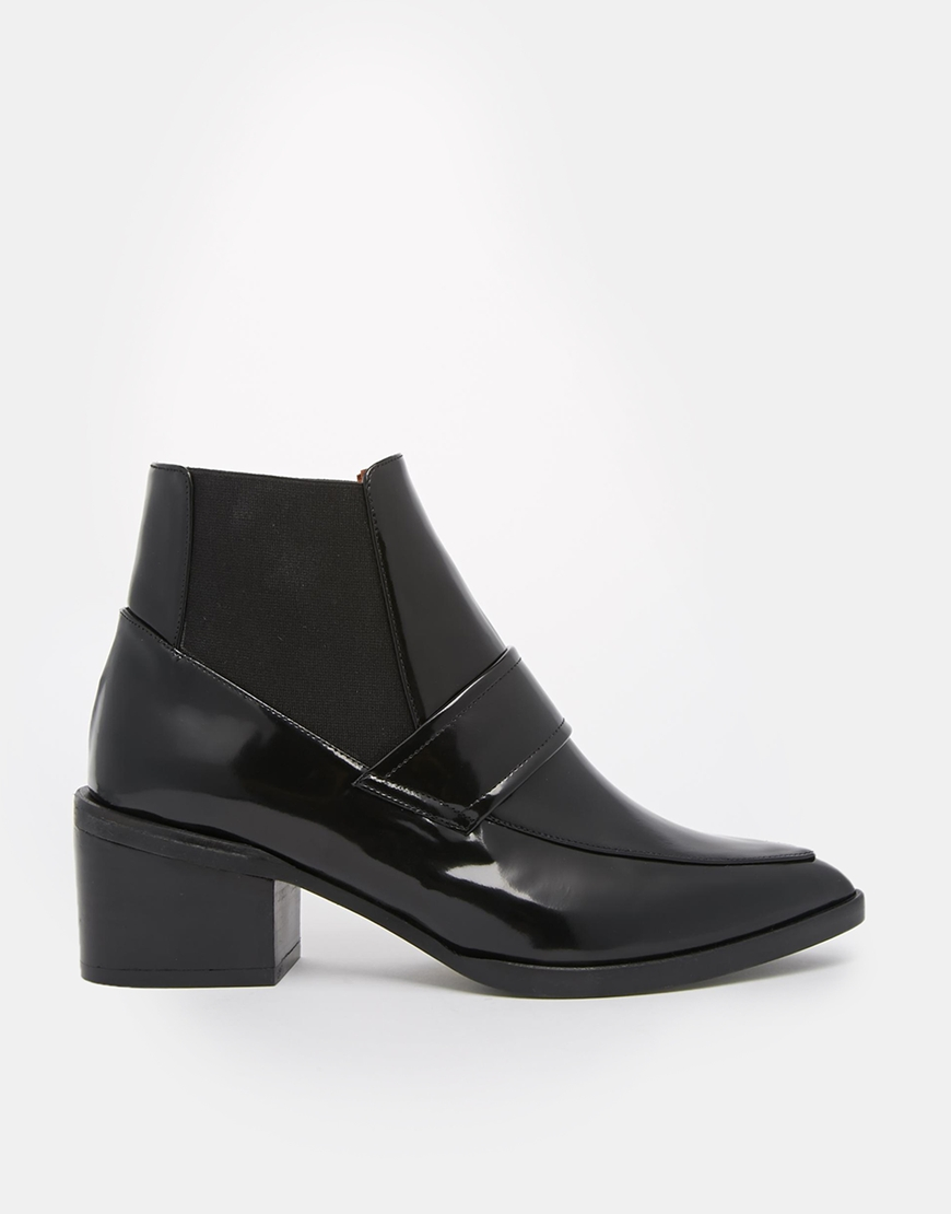 Whistles Riley Pointed Loafer Mid Heeled Ankle Boots at asos.com