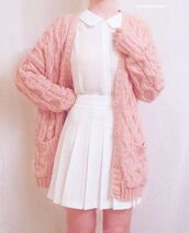 sweater,cardigan,pastel pink cardigan,pink,pockets,cardigan with buttonss,long cardigan,cute outfits,tysm,pls help guys,winter outfits,kawaii,pale pink cardigan,clothes,pink caridgan,pastel,soft