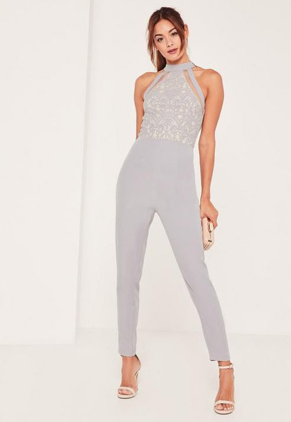 Missguided Grey Lace High Neck Sleeveless Romper