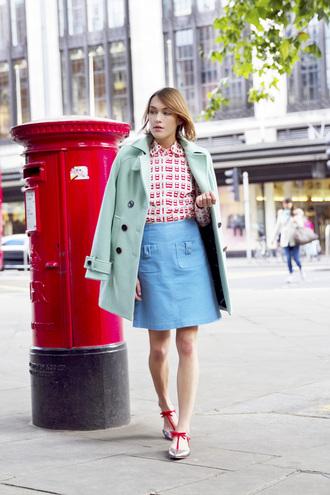 la petite anglaise blogger blue skirt mint cute outfits pastel coat