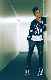sweater,shoes,zendaya,perfecto,white,jordans,air jordan,sweatshirt,harem pants,jeans,leather pants,leather,black leather pants,black