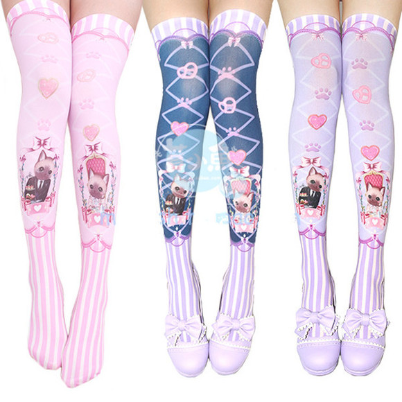 cute ribbon socks navy lolita kawaii knee high socks